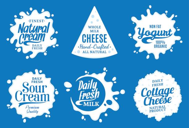 illustrazioni stock, clip art, cartoni animati e icone di tendenza di milk product labels. milk, yogurt or cream splashes - formaggio