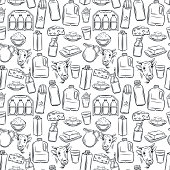 Milk product seamless pattern. Vector illustration hand drawn retro style. Outline cheese, cottage cheese, butter, a bottle and a packet of milk. smoothies and etc.