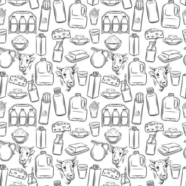 우유 제품 완벽 한 패턴 - 유가공 식품 stock illustrations