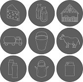 Set of hand drawn milk production icons for your design