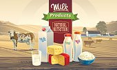 Milk products and rural landscape with cows.