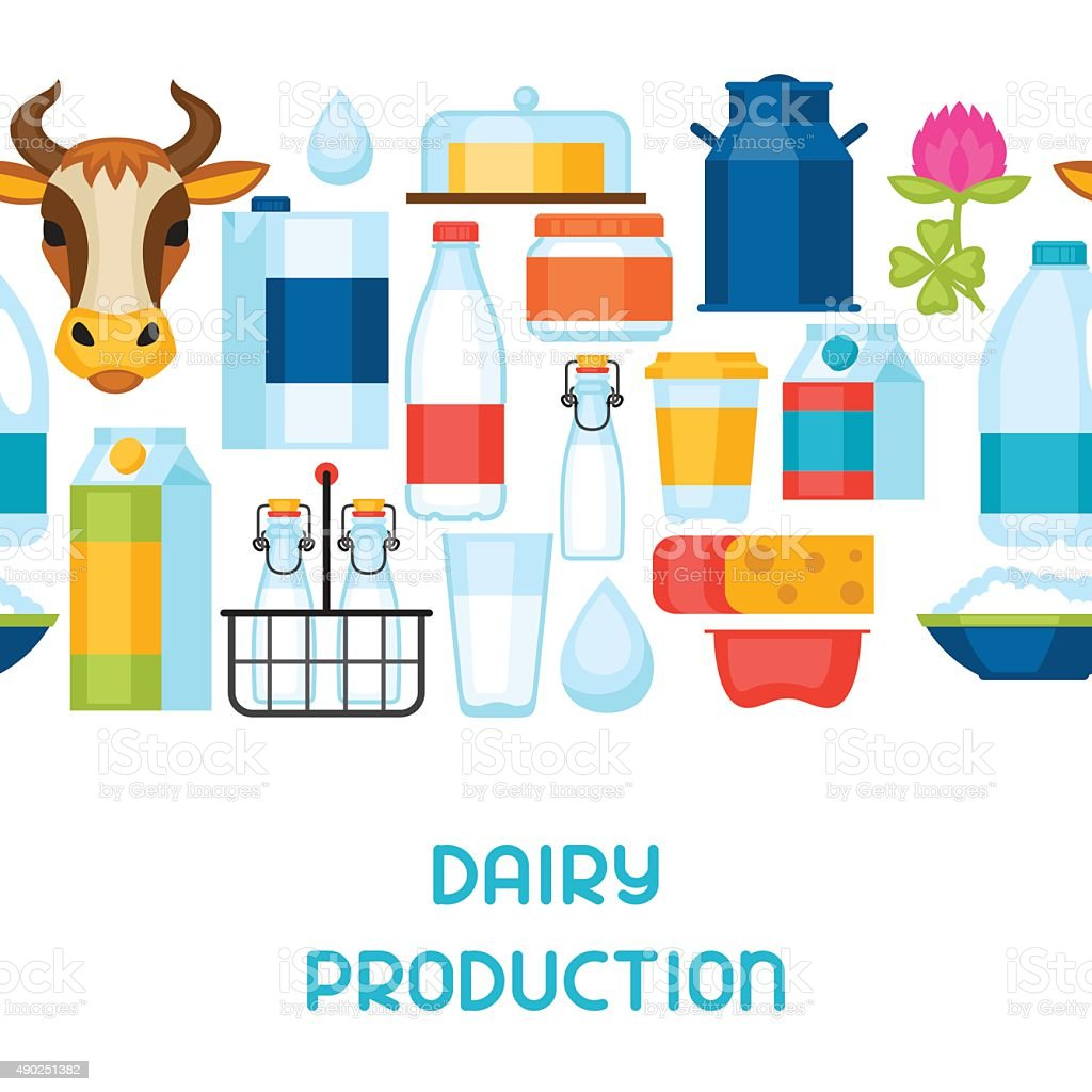 Milk seamless pattern with dairy products and objects vector art illustration