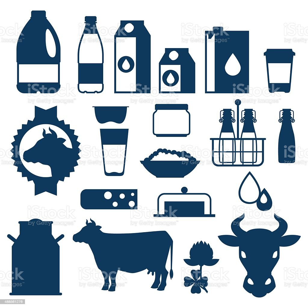 Milk set of dairy products and objects vector art illustration