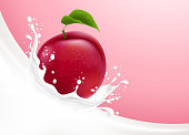 Milk pours with splashes, like a crown, and plum fruit against a creamy background. Vector realistic illustration.