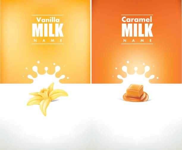 milk splash cream with vanilla and caramel milk splash cream with vanilla, caramel caramel stock illustrations