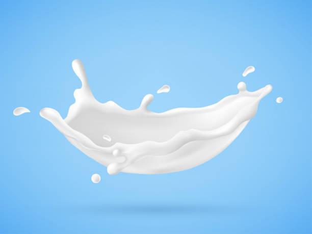 SD-Milch Spritzen auf blauem Hintergrund – Vektorgrafik