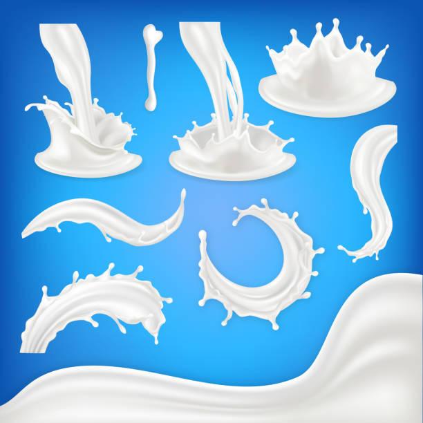 illustrazioni stock, clip art, cartoni animati e icone di tendenza di milk splash set vector. white wave, drop, blots liquid. food drink natural eco healthy product. pouring product design element. 3d realistic illustration - latte