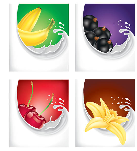 milk splash with banana, black current, cherry, vanilla flower - vanillecreme stock-grafiken, -clipart, -cartoons und -symbole