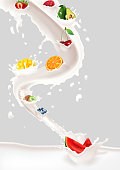 Vector illustration of Milk splash with fruits mix on white background