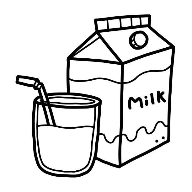 Black And White Cartoon Milk Bottle Illustrations, Royalty