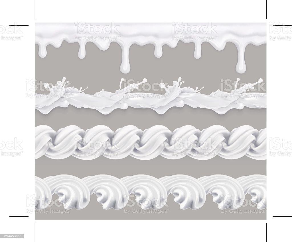 Milk, whipped cream, sweet glaze. Seamless pattern. Vector set