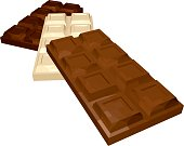 Three Bars of Chocolate: Milk White and Dark Isolated on White Background. Vector 3D Realistic Illustration.