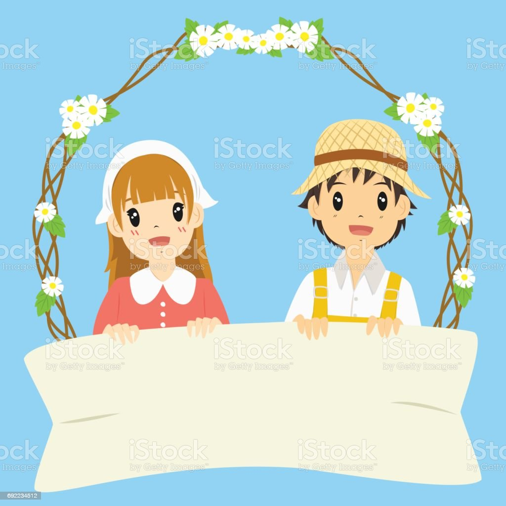 Milkmaid and Farmer Holding Blank Banner Vector vector art illustration