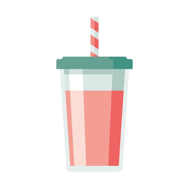 illustrations, cliparts, dessins animés et icônes de milkshake plat design dessert icône - tasse flat