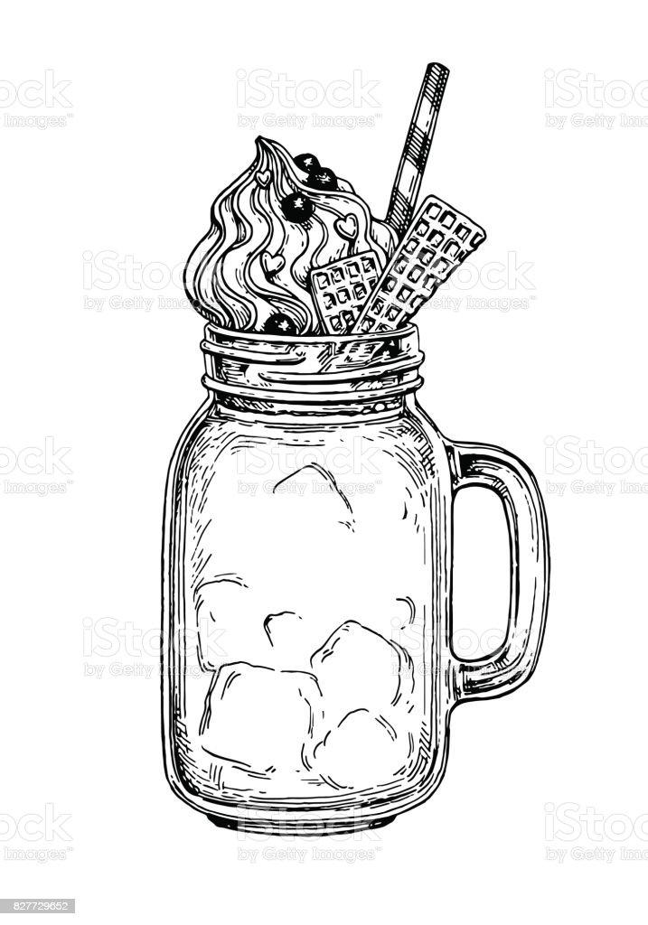 Milkshake ink sketch - illustrazione arte vettoriale