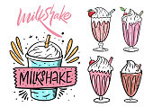istock Milkshake set. Cartoon flat vector illustration. Isolated on white background. 1223554713