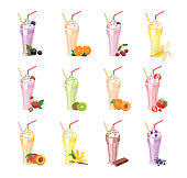 Milkshakes in glasses set. Summer sweet drinks with different berries and fruits isolated on a white background. Vector illustration in cartoon flat style.