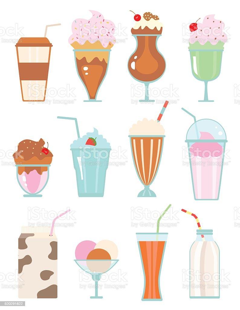 milkshakes with berries vector art illustration