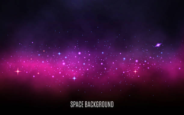 milky way background. pink and purple concept. stardust and shining stars. colorful galaxy with nebula and stars. abstract futuristic backdrop. vector illustration - space exploration stock illustrations, clip art, cartoons, & icons