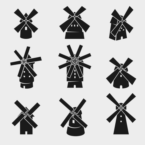 공장 설정합니다. 벡터 - 풍차 stock illustrations