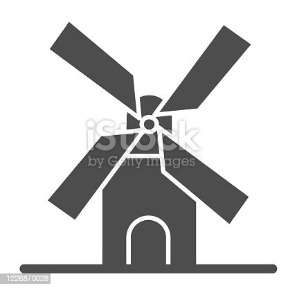 istock Mill solid icon, bakery concept, windmill sign on white background, Wheat factory icon in glyph style for mobile concept and web design. Vector graphics. 1226870028