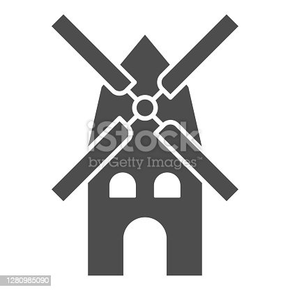 Mill solid icon, Oktoberfest concept, windmill sign on white background, Ancient mill icon in glyph style for mobile concept and web design. Vector graphics