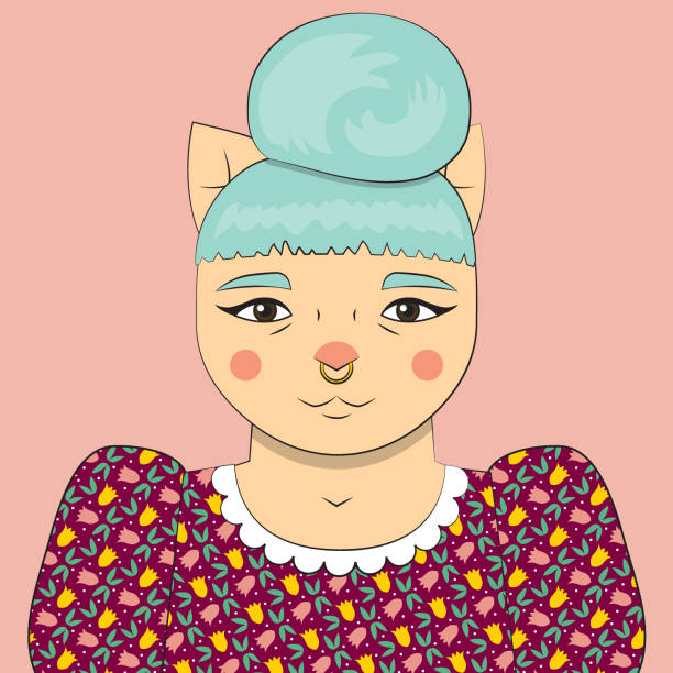 Millenial Hipster Cat Vector portrait of a modern young cat woman septum stock illustrations