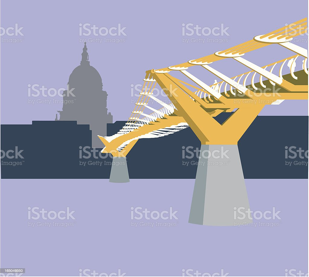 Millenium Bridge, London, England royalty-free stock vector art