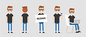 Millennial character in various poses: front and back view, holding a sign, checking the phone, working on a laptop. Lifestyle. Flat editable vector illustration, clip art