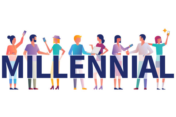 Millennial concept. Group students with gadgets in their hands Millennial concept. Group students with gadgets in their hands. Vector illustration flat design. Isolated on white background. Modern fashionable young people. Generation y. millennial generation stock illustrations