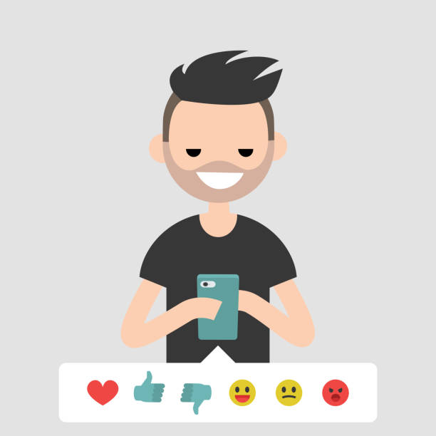Millennial, conceptual illustration. Young character picking up the emoticon icon to rate the post in social media. Flat editable vector cartoon, clip art Millennial, conceptual illustration. Young character picking up the emoticon icon to rate the post in social media. Flat editable vector cartoon, clip art millennial generation stock illustrations