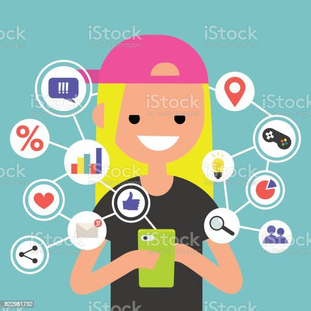 Millennial consuming online content on mobile device flat editable vector id822981732?b=1&k=6&m=822981732&s=612x612&h=a5ughl1stnevusiskxbld3pf w0dtj9342kqiow5aey=