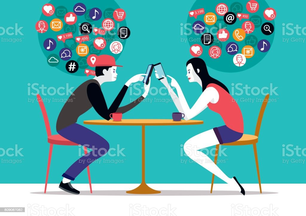Millennial Couple and Network Icons vector art illustration