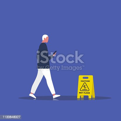 Millennial male character addicted to a smartphone. Nomophobia. Caution, wet floor. Wet surface. Flat editable vector illustration, clip art