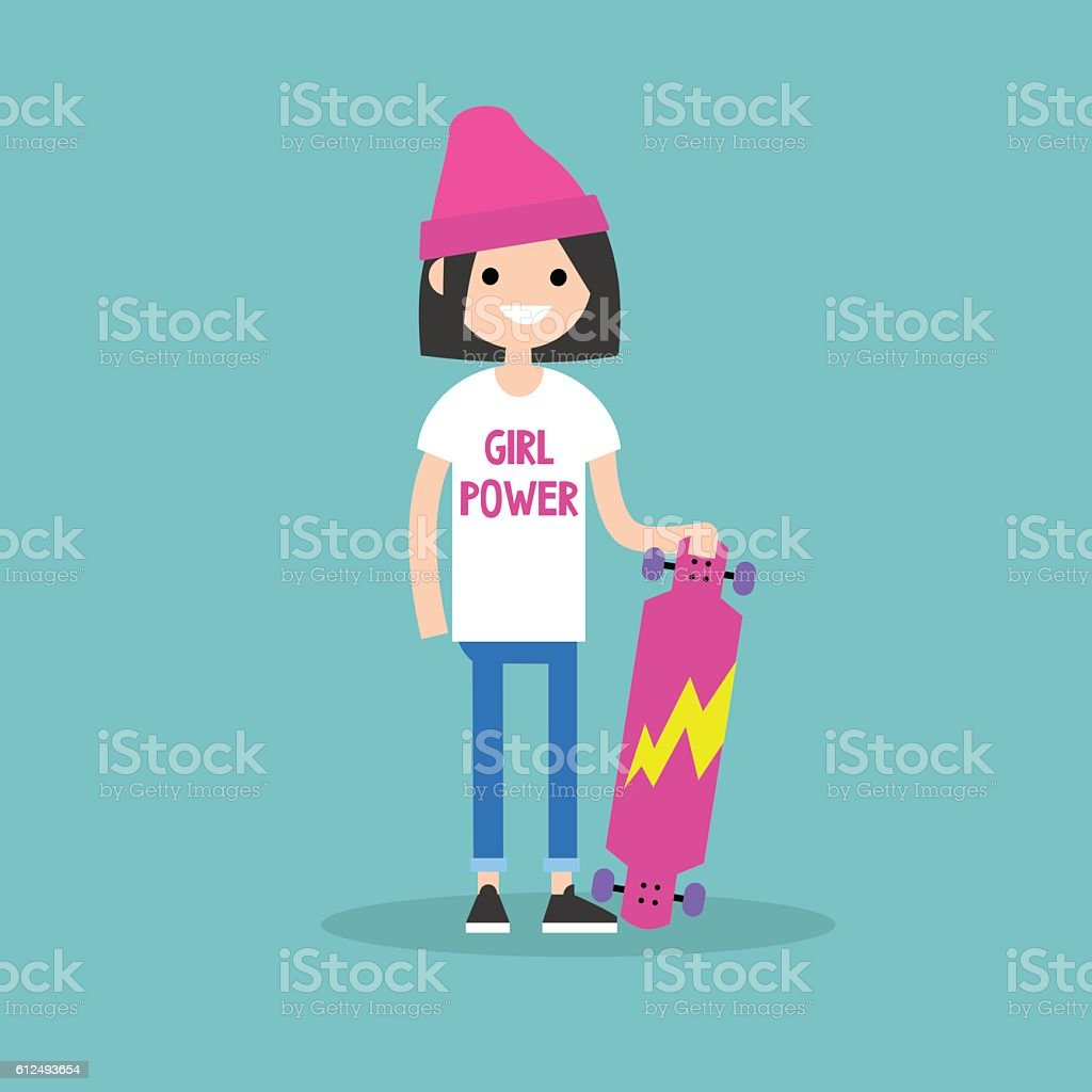 Millennial Skater Girl Wearing Tshirt With Girl Power Sign Stock