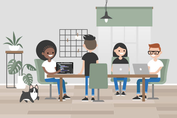 ilustrações de stock, clip art, desenhos animados e ícones de millennials at work. design bureau. young people sitting and standing around long wooden table. flat editable vector illustration, clip art - coworking