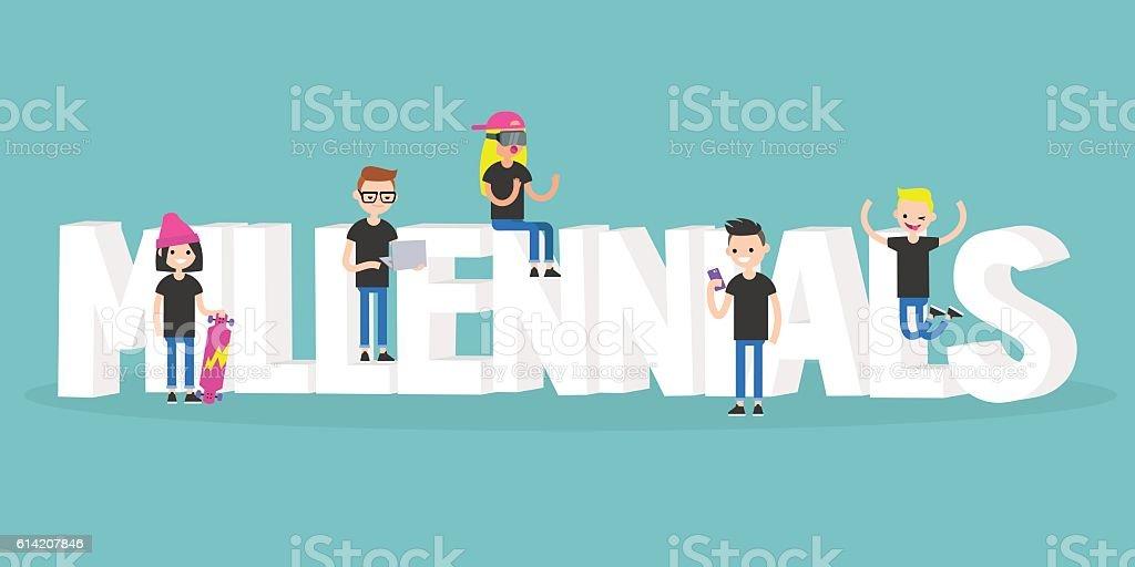 Millennials illustrated sign vector art illustration