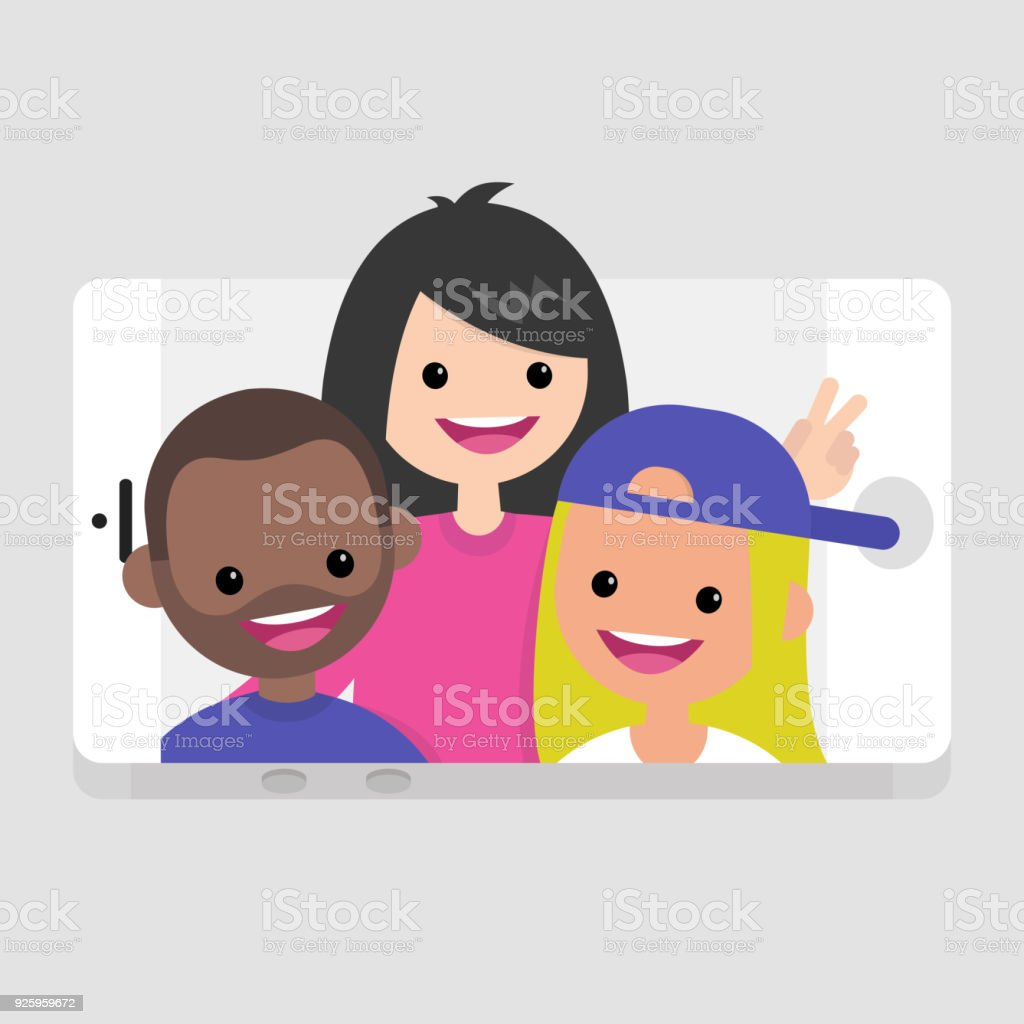 Millennials making a selfie. Young friends having fun. Lifestyle technologies. Mobile application. Flat editable vector illustration, clip art - Royalty-free Adult stock vector