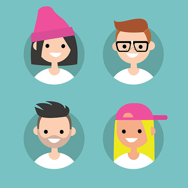 Millennials profile pics Set of flat vector portraits nerd hairstyles for girls stock illustrations