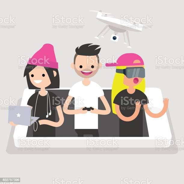 Millennials using different devices laptop with headphones drone and vector id833757396?b=1&k=6&m=833757396&s=612x612&h=df0dqwyfzufij1w0vysuv4qdkbo2j2hm8co xba tke=