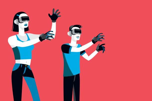 millennials sanal gerçeklik cihazlar ile - google stock illustrations