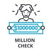 million check thin line icon, sign, symbol, illustation, linear concept vector