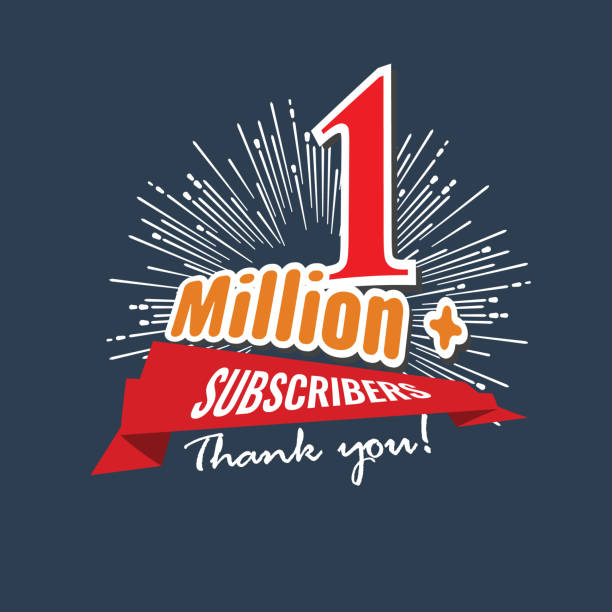 1 Million followers or subscribers achivement symbol design with ribbon and star for social media. Vector illustration. 1 Million followers or subscribers achivement symbol design with ribbon and star for social media. Flat color style Vector illustration. millionnaire stock illustrations