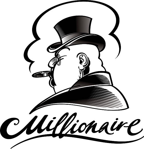 stockillustraties, clipart, cartoons en iconen met millionaire - guy with cigar