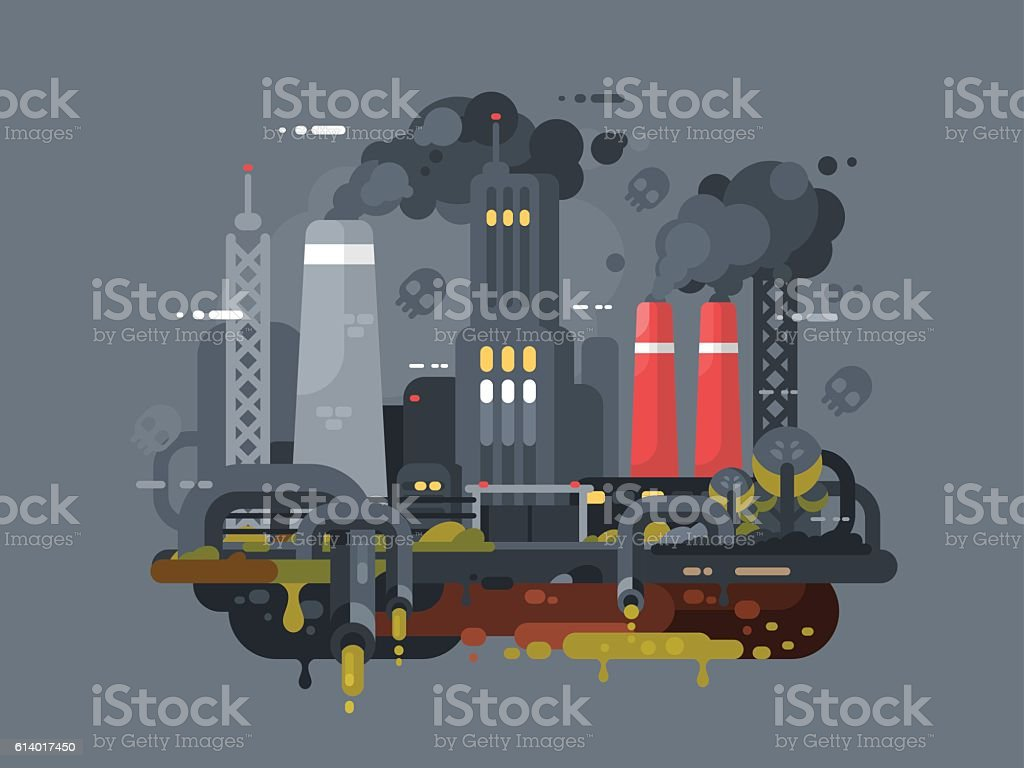 Mills and factories polluting environment vector art illustration