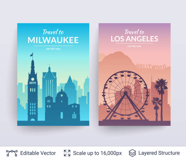 milwaukee and los angeles famous city scapes. - los angeles stock illustrations
