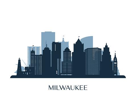 Milwaukee skyline, monochrome silhouette. Vector illustration.
