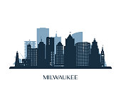 istock Milwaukee skyline, monochrome silhouette. Vector illustration. 1281760040