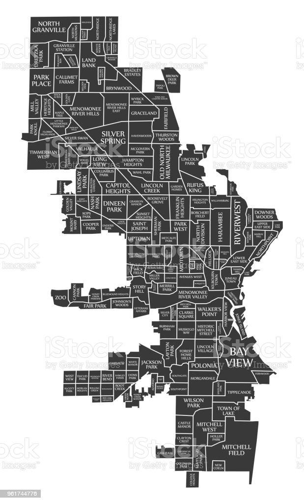 Milwaukee Wisconsin City Map Usa Labelled Black Illustration Stock ...