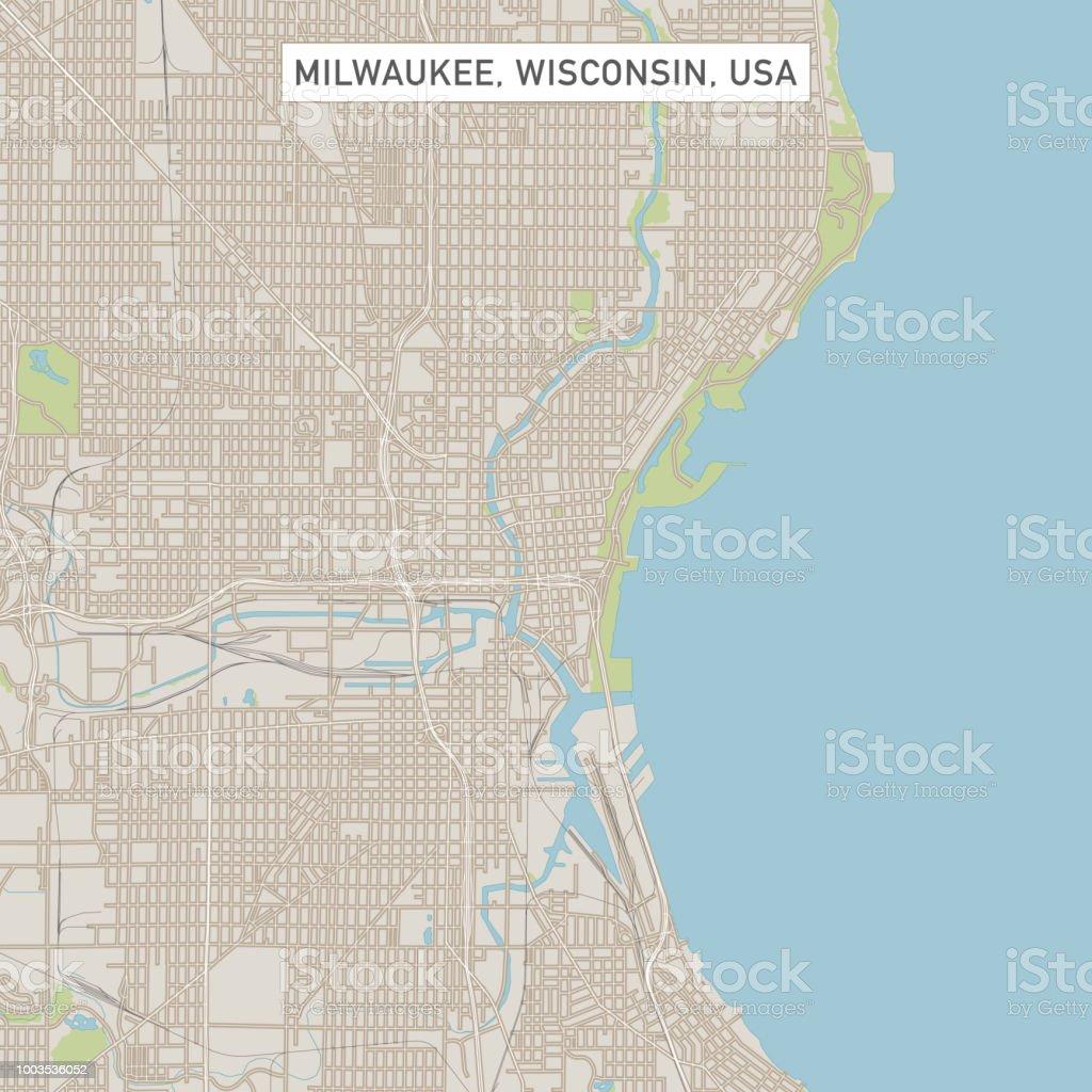 Milwaukee Wisconsin Us City Street Map Stock Vector Art More